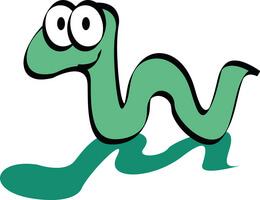 cartoon green worm